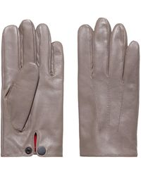 HUGO Nappa-leather Gloves With Snap-close Cuff - Brown