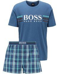BOSS by Hugo Boss Conjunto de pijama de algodón con logo y bolsa de punto - Azul