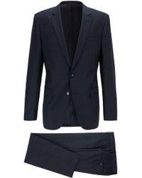 BOSS Slim-fit Suit In Micro-patterned Virgin Wool Serge - Blue