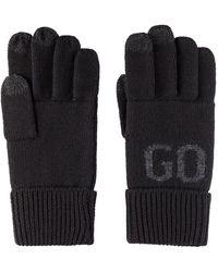 HUGO Wool-blend Touchscreen Gloves With Logo Jacquard - Black