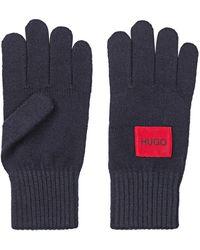 HUGO Logo Gloves In A Virgin-wool Blend - Blue