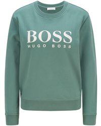 BOSS by HUGO BOSS Sweatshirt aus Bio-Baumwolle mit Folien-Logo-Print - Grün