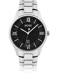BOSS - Polished Stainless-steel Watch With Two-tier Black Dial And Link Bracelet - Lyst