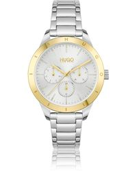 HUGO Link-bracelet Watch With Gold-tone Logo Bezel - Metallic