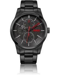 HUGO Black-plated Watch With Brushed And Polished Finishes