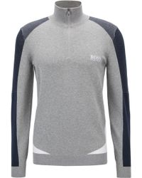 BOSS - Color-block Sweater In A Water-repellent Cotton Blend - Lyst