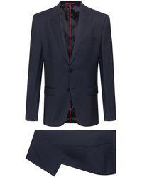HUGO Regular-fit Suit In Micro-patterned Virgin Wool - Blue