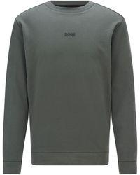 BOSS by HUGO BOSS Relaxed-fit Logosweater Van Een Biologische Katoenmix - Groen
