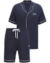 BOSS by Hugo Boss Logo Pyjama Set With Contrast Piping - Blue