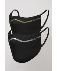 HUGO Two-pack Of Face Masks With Metallic Logo Stripe - Black