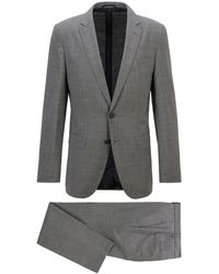 BOSS by HUGO BOSS Filigran gemusterter Slim-Fit Anzug aus Stretch-Gewebe - Grau