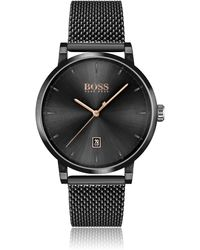 BOSS by Hugo Boss Black-plated Watch With Black Dial And Mesh Bracelet