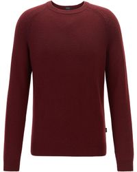 BOSS Regular-fit Sweater In Cashmere With Crew Neckline - Red
