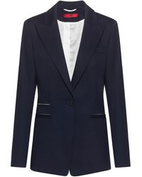 HUGO Chaqueta regular fit de algodón elástico con detalles en contraste - Azul