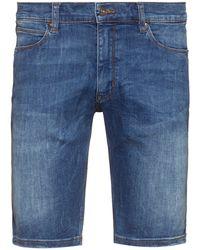 HUGO Slim-fit Shorts In Washed Stretch Denim - Blue