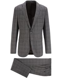 BOSS by HUGO BOSS Karierter Slim-Fit Anzug aus Schurwolle - Grau