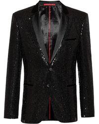 HUGO Extra-slim-fit Evening Jacket With All-over Sequins - Black