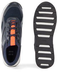 BOSS by HUGO BOSS Lage Sneakers Van Leer En Mesh - Blauw