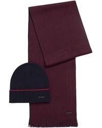 BOSS by HUGO BOSS Virgin Wool Beanie Hat And Two Tone Scarf Set - Purple