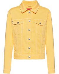 HUGO Cazadora slim fit de denim de color con elástico - Amarillo
