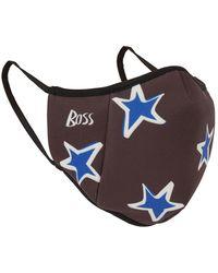 BOSS by Hugo Boss Masque facial en tissu stretch avec logo et étoiles - Noir