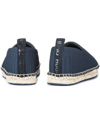HUGO Knitted Espadrilles With Logo Pull-loop - Blue