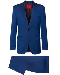 HUGO Regular-fit Suit In Micro-patterned Tropical Wool - Blue