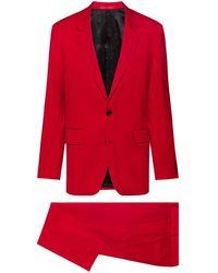 HUGO Traje relaxed fit en lana virgen con parche de logo invertido - Rojo