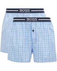 BOSS by Hugo Boss Two-pack Of Pyjama Shorts In Cotton Poplin - Blue