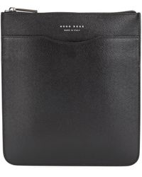 BOSS by Hugo Boss Signature Collection Envelope Bag In Printed Italian Calf Leather - Black