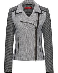 HUGO - Patched Tweed Biker Jacket With Contrast Piping - Lyst