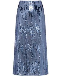 HUGO Sequinned Midi Skirt With High-rise Waistband - Blue