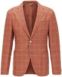 BOSS by HUGO BOSS Americana slim fit a cuadros en mezcla de lana virgen - Naranja