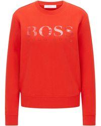 BOSS by HUGO BOSS Regular-Fit Top aus Baumwoll-Terry mit Logo - Orange