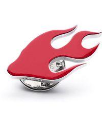 HUGO Épingle de revers en laiton poli à motif flamme - Rouge
