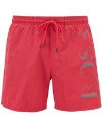 BOSS Logo-print Swim Shorts In Technical Fabric - Pink