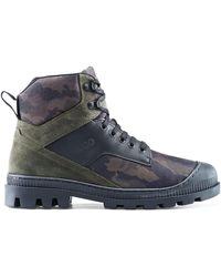 HUGO Boots à lacets en cuir suédé et toile à imprimé camouflage - Multicolore