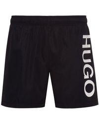 HUGO Short de bain à logo en tissu à séchage rapide - Noir