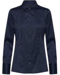 HUGO Slim-fit Blouse In Easy-iron Poplin - Blue
