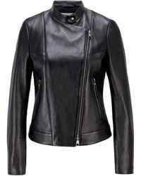 BOSS by HUGO BOSS Asymmetric-front Leather Jacket With Logo Lining - Black