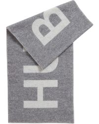BOSS Logo-jacquard Scarf In A Brushed Wool Blend - Gray