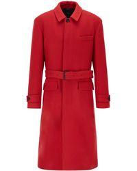 BOSS by HUGO BOSS Abrigo relaxed fit en lana virgen con cinturón desmontable - Rojo