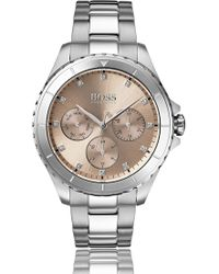 BOSS - Stainless-steel Watch With Carnation-gold Dial And Crystal Markers - Lyst