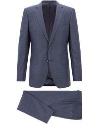 BOSS - Slim-fit Suit In Patterned Virgin Wool - Lyst