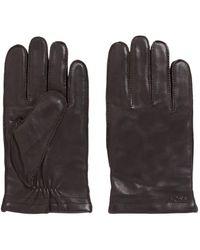 BOSS Logo-emed Gloves In Lambskin With Wool-blend Lining - Brown
