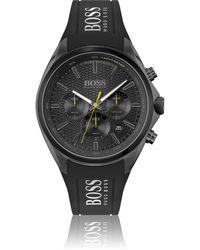 BOSS by HUGO BOSS Schwarz beschichteter Chronograph mit Silikonarmband