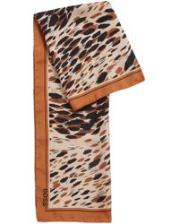 BOSS Animal-print Scarf In Silk - Multicolour