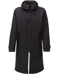 BOSS Water-repellent Hooded Coat With Detachable Lining - Black