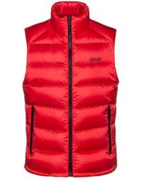 HUGO Water-repellent Down Gilet With Reverse-logo Print - Red