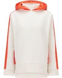 BOSS by HUGO BOSS Oversized-fit Sweater Met Capuchon En Color-blocking - Wit